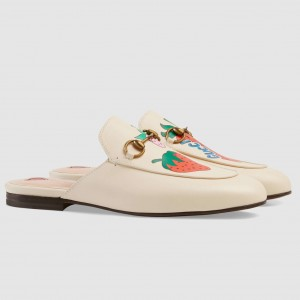 Gucci White Princetown Slippers With Gucci Strawberry
