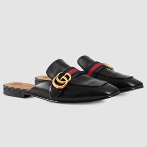 Gucci Black Leather Slippers With Signature Web