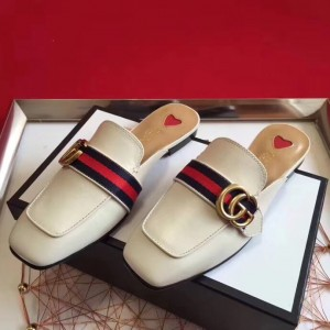 Gucci White Leather Slippers With Signature Web