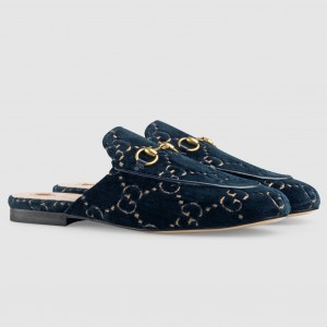 Gucci Princetown Slippers In Blue GG Velvet