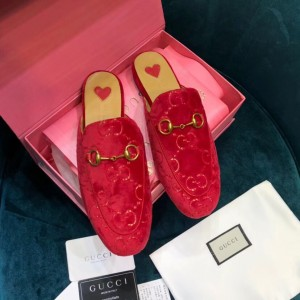 Gucci Princetown Slippers In Red GG Velvet
