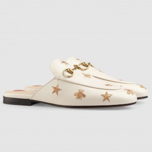 Gucci White Princetown Slippers Embroidered Bees And Stars