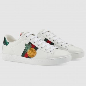 Gucci White Women Ace Embroidered Pineapple Sneaker