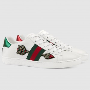 Gucci White Women Ace Embroidered Arrow Sneaker