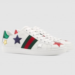 Gucci White Women Ace Embroidered Stars Sneaker