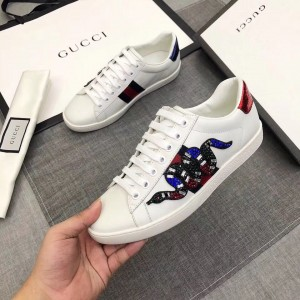Gucci White Women Ace Embroidered Kingsnake Sneaker