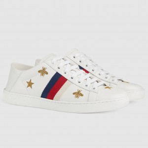 Gucci White Women Ace Sneaker With Bees and Stars