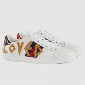 Gucci White Women Ace Embroidered Loved Sneaker