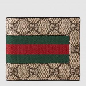 Gucci Beige Web GG Supreme Bi-fold Wallet