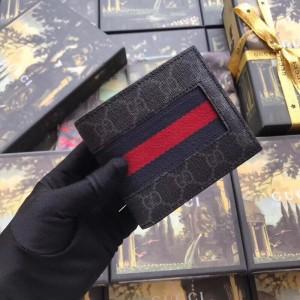 Gucci Black Web GG Supreme Bi-fold Wallet