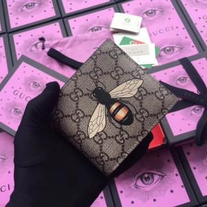 Gucci Bee Print GG Supreme Bi-fold Wallet