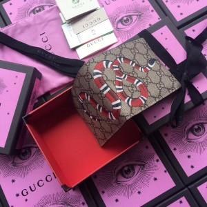 Gucci Kingsnake Print GG Supreme Bi-fold Wallet