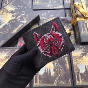 Gucci Black Wolf Print GG Supreme Bi-fold Wallet
