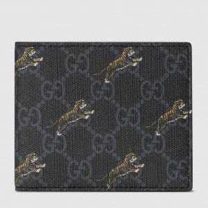 Gucci Black Tiger Print GG Supreme Bi-fold Wallet