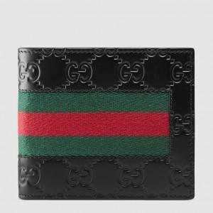 Gucci Black Signature Web Bi-fold Wallet