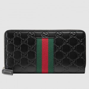 Gucci Black Signature Web Zip Around Wallet