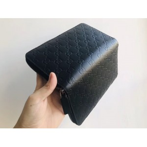 Gucci Black Signature Leather Zippy Organizer Wallet