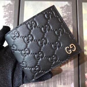 Gucci Black Signature GG Metal Bi-fold Wallet