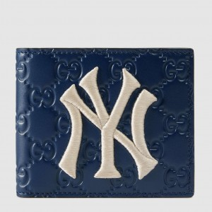 Gucci Blue Signature Bi-fold Wallet With New York Yankees Patch