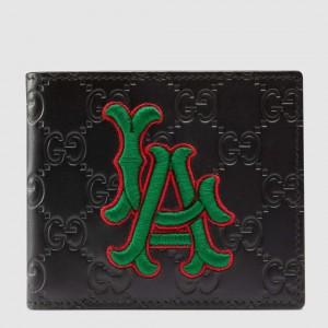 Gucci Black Signature Bi-fold Wallet With LA Angels Patch