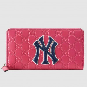 Gucci Pink Signature Zip Around Wallet With NY Yankees Patch