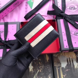 Gucci Black Stripe Leather Bi-fold Wallet