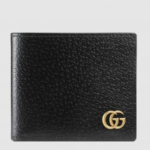Gucci GG Marmont Bi-fold Wallet In Black Leather