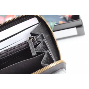 Gucci GG Marmont Zip Around Wallet In Black Leather