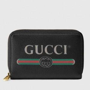 Gucci Black Print Leather Card Case