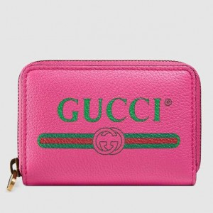 Gucci Pink Print Leather Card Case