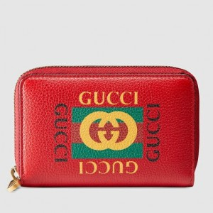 Gucci Red Print Leather Card Case