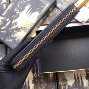 Gucci Animalier Zip Around Wallet In Black Leather