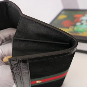 Gucci Black Ophidia GG Suede Continental Wallet