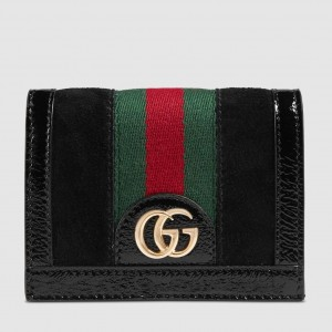 Gucci Black Suede Ophidia Card Case Wallet