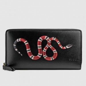 Gucci Black Kingsnake Print Leather Zip Around Wallet