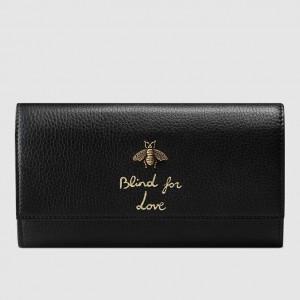 Gucci Black Animalier Continental Wallet