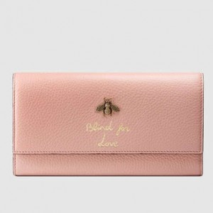 Gucci Pink Animalier Continental Wallet