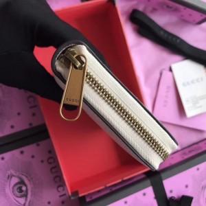 Gucci White Print Leather Zip Around Wallet