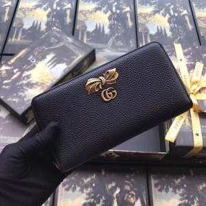 Gucci Black Leather Zip Around Wallet With Bow