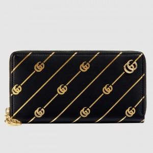 Gucci Black Zip Around Wallet With Double G stripe