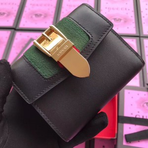 Gucci Sylvie Flap Wallet In Black Leather