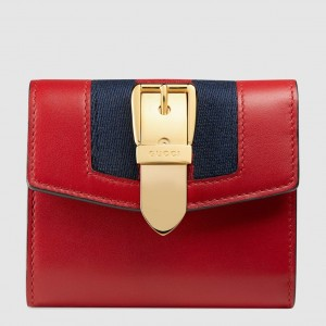 Gucci Sylvie Flap Wallet In Red Leather