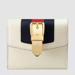 Gucci Sylvie Flap Wallet In White Leather