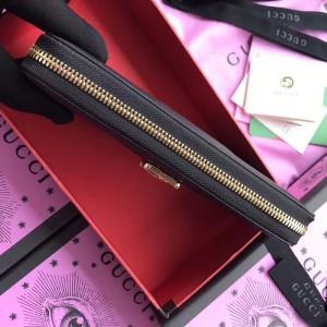 Gucci Sylvie Zip Around Wallet In Black Leather
