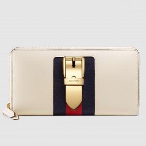 Gucci Sylvie Zip Around Wallet In White Leather