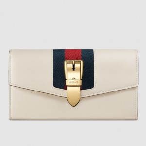 Gucci Sylvie Continental Wallet In White Leather