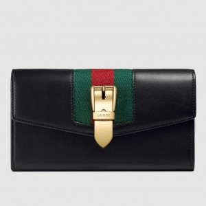 Gucci Sylvie Continental Wallet In Black Leather