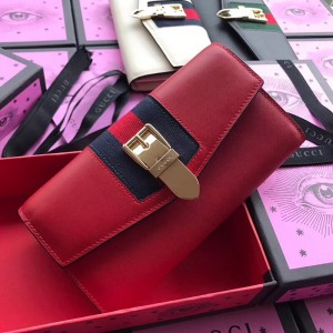 Gucci Sylvie Continental Wallet In Red Leather