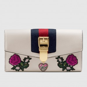 Gucci Sylvie Embroidered Leather Continental Wallet