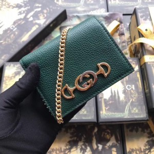 Gucci Zumi Card Case Wallet In Green Grainy Leather